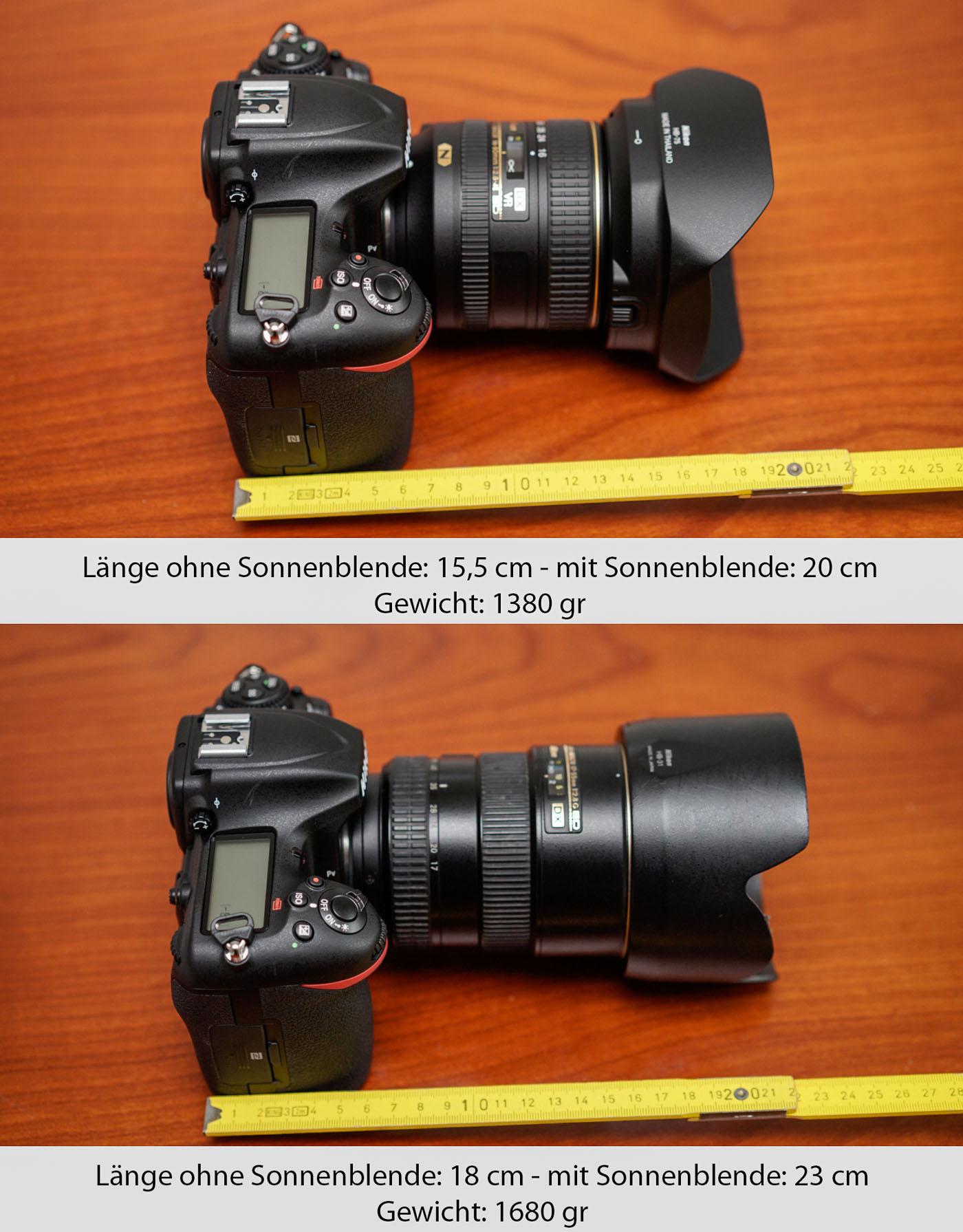 D500 Größenvergleich mit 2Objektiven