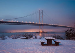 Forth Road Bridge Queensferry in winter