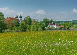 Frühlingswiese vor Kloster Seeon und St. Walpurgis