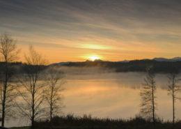 Novembermorgen in Pelham am See. Nebel steigt über dem See auf.