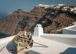 Blick von Firostefani nach Imerovigli Santorin
