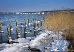 Rügen-Brücke. Wellenbrecher im Eis