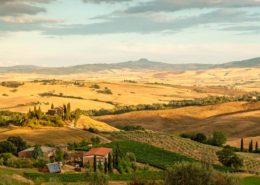 Villen, Höfe und Felder im Val d' Orcia