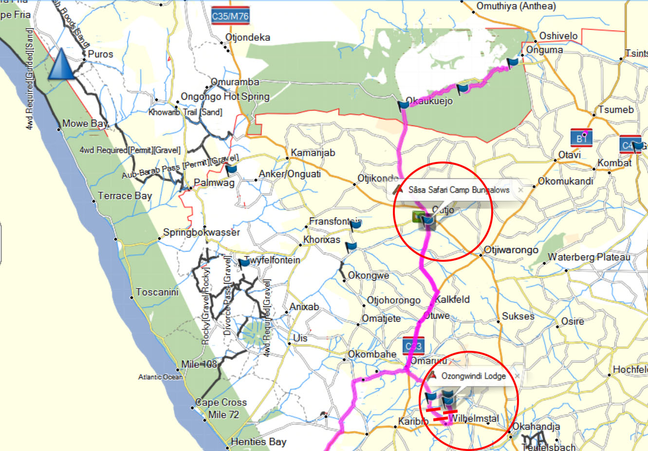 Streckenführung Halali, Sasa Safari Camp, Ozongwindi